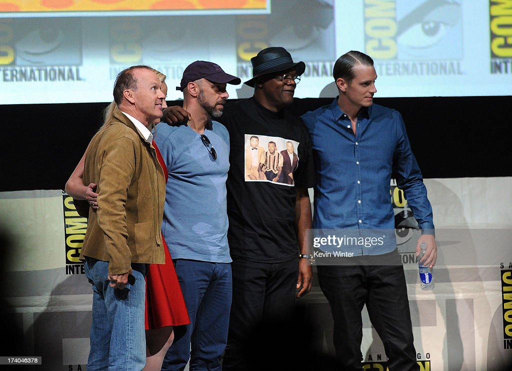 Actor Michael Keaton, director Jose Padilha, actor Samuel L. Jackson and actor Joel Kinnaman appear at the Sony and Screen Gems panel for 'RoboCop' during Comic-Con International 2013 at San Diego Convention Center on July 19, 2013 in San Diego, California.