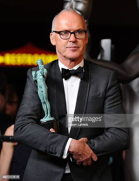 Actor Michael Keaton poses in the press room at the 21st annual Screen Actors Guild Awards at The Shrine Auditorium on January 25 2015 in Los Angeles...