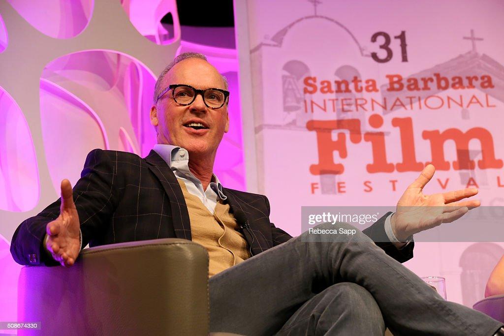 Actor Michael Keaton speaks onstage at the American Riviera Award at the Arlington Theater at the 31st Santa Barabara International Film Festival on February 5, 2016 in Santa Barbara, California.