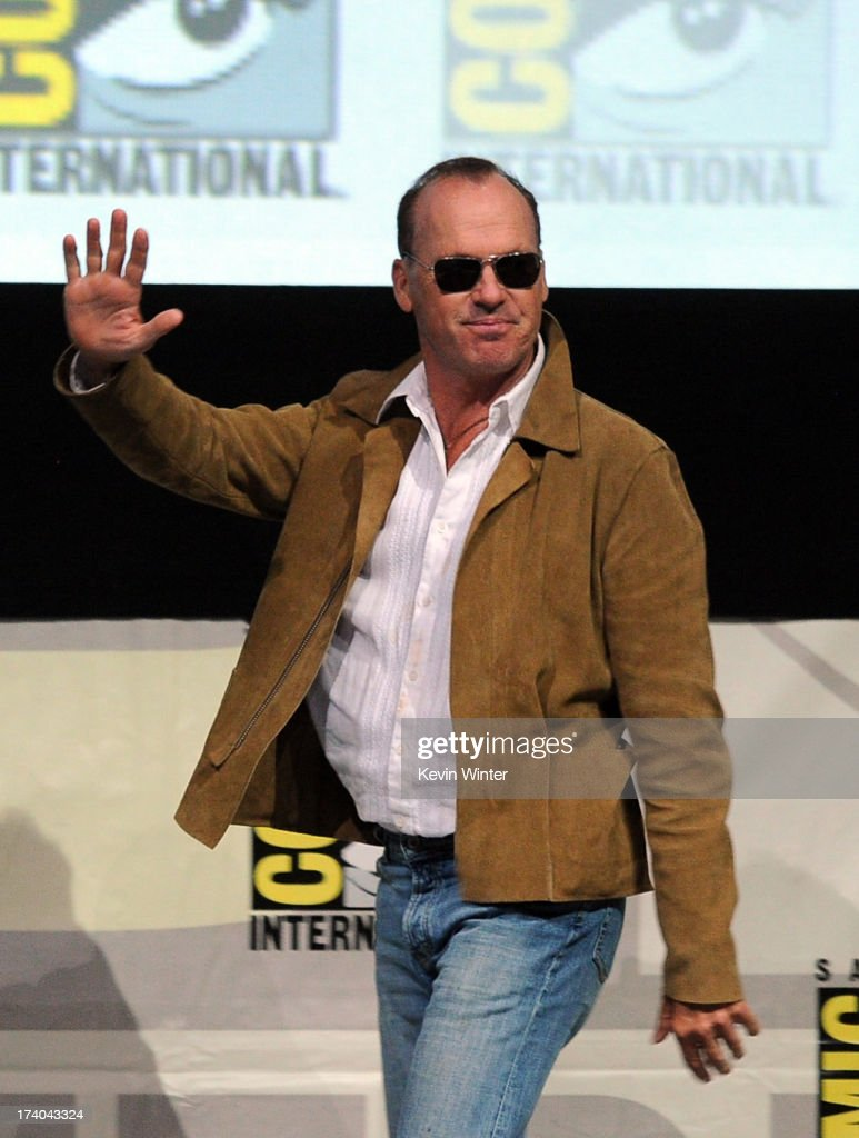 Actor Michael Keaton speaks onstage at the Sony and Screen Gems panel for 'RoboCop' during Comic-Con International 2013 at San Diego Convention Center on July 19, 2013 in San Diego, California.