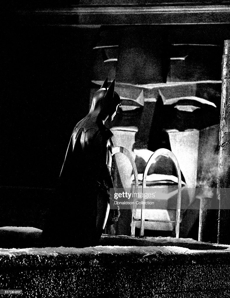 Actor Michael Keaton who is playing Batman on set during the filming of 'Batman Returns' in 1991 in Los Angeles California