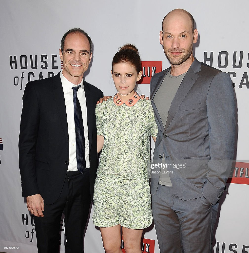 Actor Michael Kelly, actress <a gi-track='captionPersonalityLinkClicked' href=/galleries/search?phrase=Kate+Mara&family=editorial&specificpeople=544680 ng-click='$event.stopPropagation()'>Kate Mara</a> and actor Corey Stoll attend a Q&A for 'House Of Cards' at Leonard H. Goldenson Theatre on April 25, 2013 in North Hollywood, California.