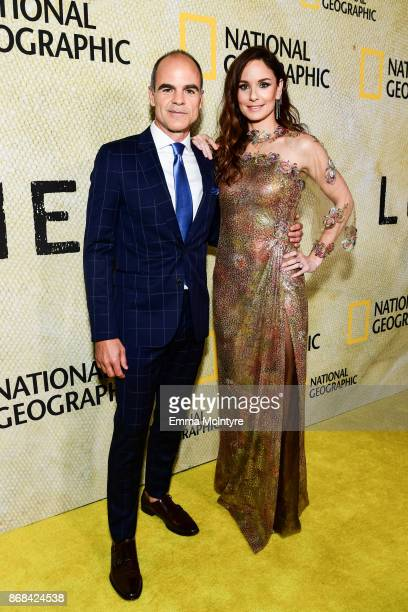 Actor Michael Kelly and actress Sarah Wayne Callies attend the premiere of National Geographic's 'The Long Road Home' at Royce Hall on October 30...