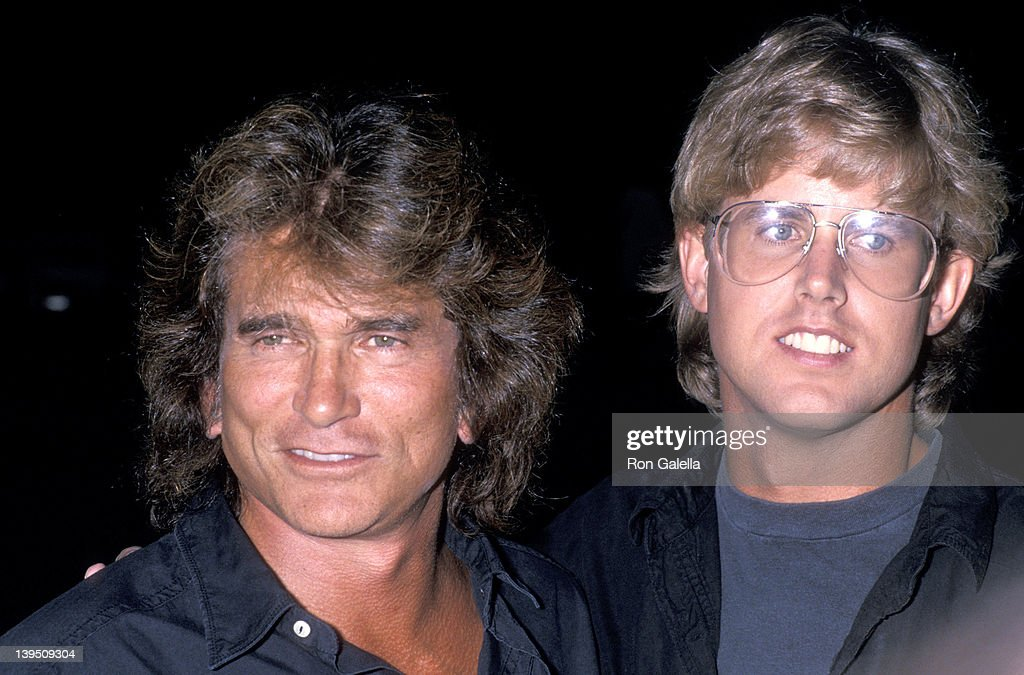 Actor <a gi-track='captionPersonalityLinkClicked' href=/galleries/search?phrase=Michael+Landon&family=editorial&specificpeople=228407 ng-click='$event.stopPropagation()'>Michael Landon</a> and son <a gi-track='captionPersonalityLinkClicked' href=/galleries/search?phrase=Michael+Landon&family=editorial&specificpeople=228407 ng-click='$event.stopPropagation()'>Michael Landon</a>, Jr. attend the Third Annual Moonlight Roundup Extravaganza to Benefit Free Arts for Abused Children on July 29, 1989 at the Calamigos Ranch in Malibu, California.