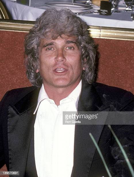 Actor Michael Landon attends the USO Distinguished American Award Salute to Dolores Hope on February 21 1983 at Beverly Hilton Hotel in Beverly Hills...