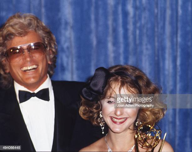 Actor Michael Landon presented actress Carol Kane the award for Outstanding Supporting Actress in a Comedy Variety or Music Series Taxi at the 35th...