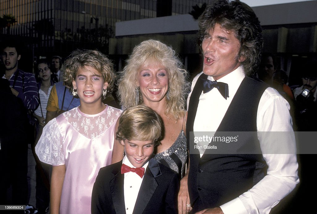 Actor <a gi-track='captionPersonalityLinkClicked' href=/galleries/search?phrase=Michael+Landon&family=editorial&specificpeople=228407 ng-click='$event.stopPropagation()'>Michael Landon</a>, wife Cindy Landon and his kids Christopher Landon and Shawna Landon attend the 'Sam's Son' Beverly Hills Premiere on August 15, 1984 at the Academy Theatre in Beverly Hills, California.