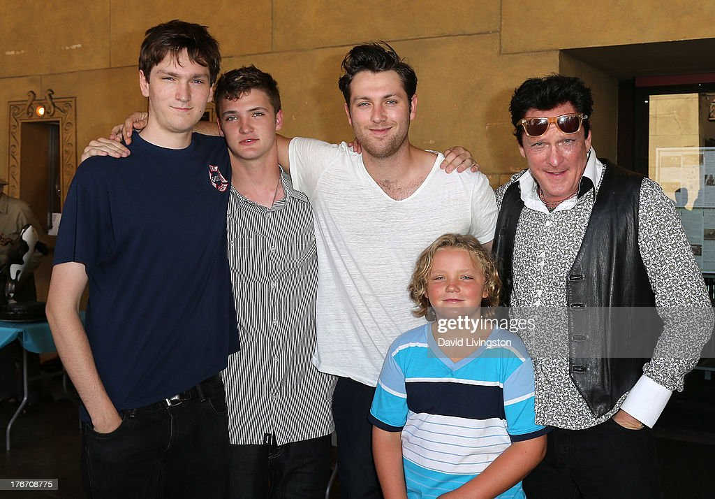 Actor Michael Madsen (far R) and sons (L-R) Max Madsen, Hudson Madsen, Christian Madsen and Luke Madsen attend the 'Free Willy' 20th Anniversary Celebration at the Egyptian Theatre on August 17, 2013 in Hollywood, California.