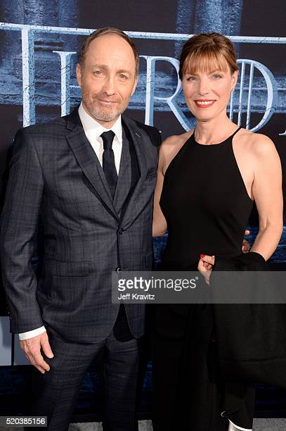 Actor Michael McElhatton and guest attend the premiere for the sixth season of HBO's 'Game Of Thrones' at TCL Chinese Theatre on April 10 2016 in...