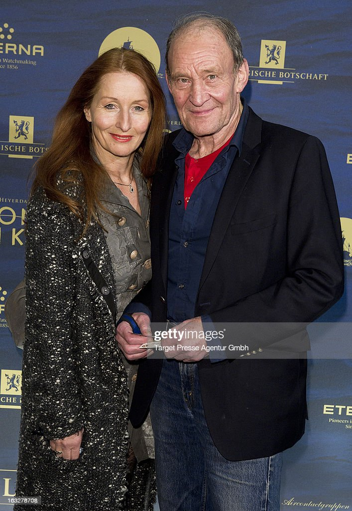 Actor Michael Mendl and his partner <a gi-track='captionPersonalityLinkClicked' href=/galleries/search?phrase=Birgitt+Wolff+-+PR+Executive&family=editorial&specificpeople=13756354 ng-click='$event.stopPropagation()'>Birgitt Wolff</a> attend the 'Kon-Tiki' Premiere at Kino International on March 6, 2013 in Berlin, Germany.