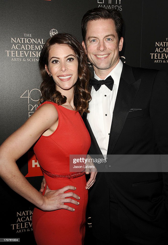 Actor Michael Muhney (R) and wife Jaime Muhney attend the 40th annual Daytime Emmy Awards at The Beverly Hilton Hotel on June 16, 2013 in Beverly Hills, California.