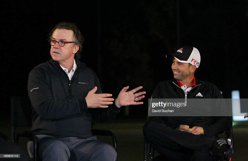 Actor Michael O'Keefe (L) and Pro golfer <a gi-track='captionPersonalityLinkClicked' href=/galleries/search?phrase=Sergio+Garcia+-+Golfer&family=editorial&specificpeople=167240 ng-click='$event.stopPropagation()'>Sergio Garcia</a> attend the Northern Trust Open & TaylorMade Golf presents first ever Drive-In movie on the driving range of a PGA Tour event at Riviera Country Club on February 18, 2015 in Pacific Palisades, California.