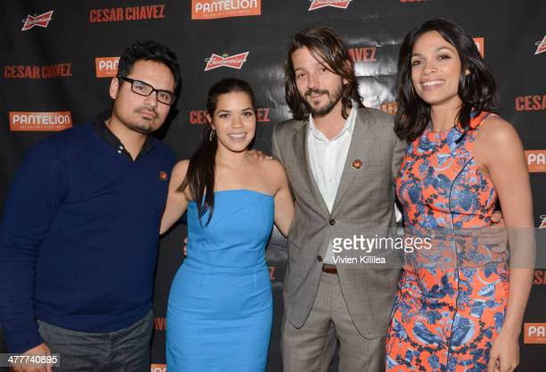 Actor Michael Pena actress America Ferrera actor Diego Luna and actress Rosario Dawson attend the Budweiser 'Cesar Chavez' premiere after party...