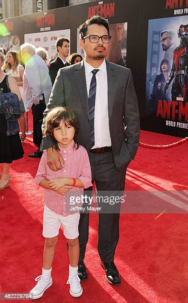 Actor Michael Pena and son Roman Pena arrive at the Los Angeles premiere of Marvel Studios 'AntMan' at Dolby Theatre on June 29 2015 in Hollywood...