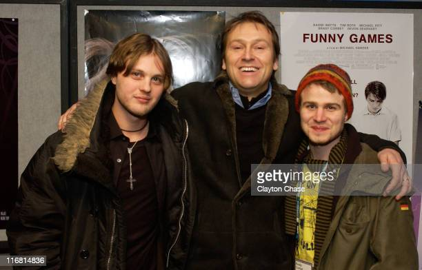 Actor Michael Pitt Chris Coen and Brady Corbet attend a screening of 'Funny Games' at the Egyptian Theatre during the 2008 Sundance Film Festival on...