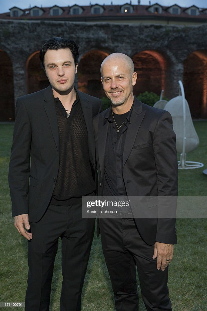 Actor Michael Pitt, left, and designer Italo Zucchelli attends the dinner to celebrate Italo Zucchelli's ten years as Calvin Klein Collection's mens creative director on June 23, 2013 in Milan, Italy.