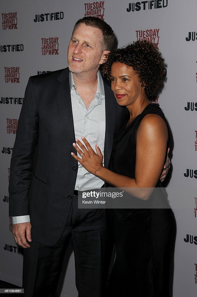 Actor Michael Rapaport and Kebe Dunn attend the season 5 premiere screening of FX's 'Justified' at the DGA Theater on January 6, 2014 in Los Angeles, California.