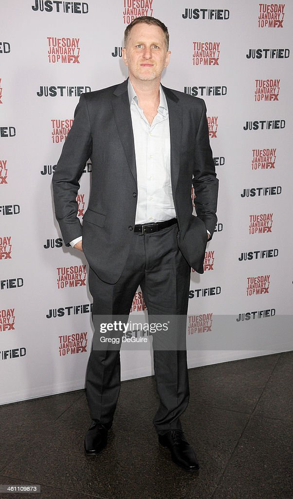 Actor <a gi-track='captionPersonalityLinkClicked' href=/galleries/search?phrase=Michael+Rapaport&family=editorial&specificpeople=234353 ng-click='$event.stopPropagation()'>Michael Rapaport</a> arrives at the Los Angeles premiere of FX 'Justified' at DGA Theater on January 6, 2014 in Los Angeles, California.