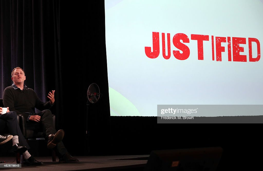 Actor Michael Rapaport of the television show 'Justified' speaks onstage during the FX portion of the 2014 Television Critics Association Press Tour at the Langham Hotel on January 14, 2014 in Pasadena, California.