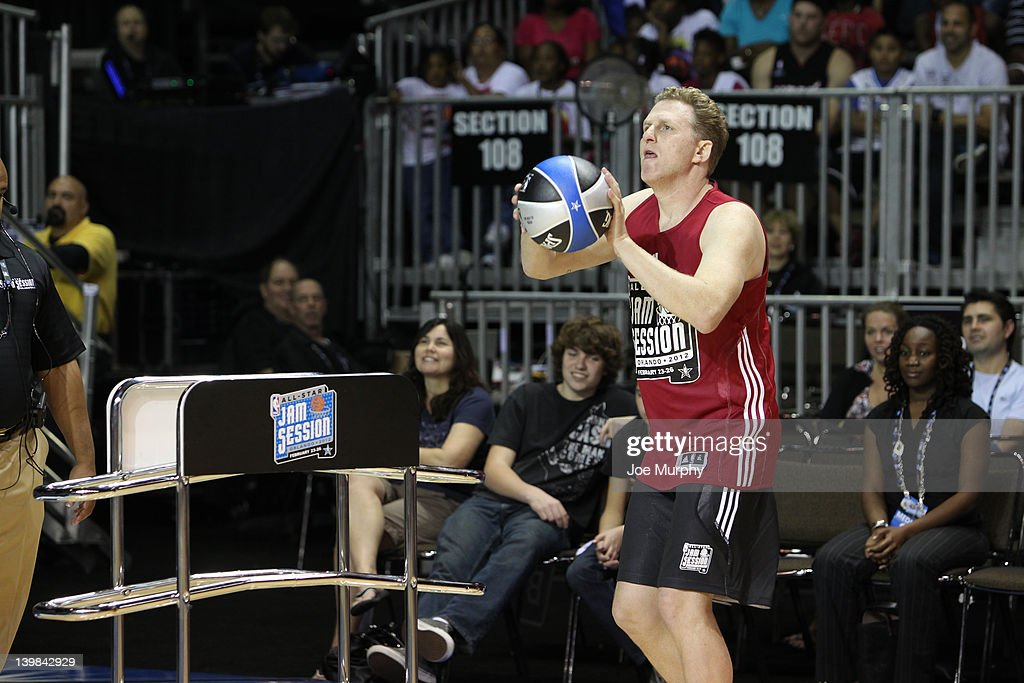 Actor Michael Rapaport shoots the ball during the Celebrity 3-Point Contest on center court at Jam Session during the NBA All-Star Weekend on February 25, 2012 at the Orange County Convention Center in Orlando, Florida.