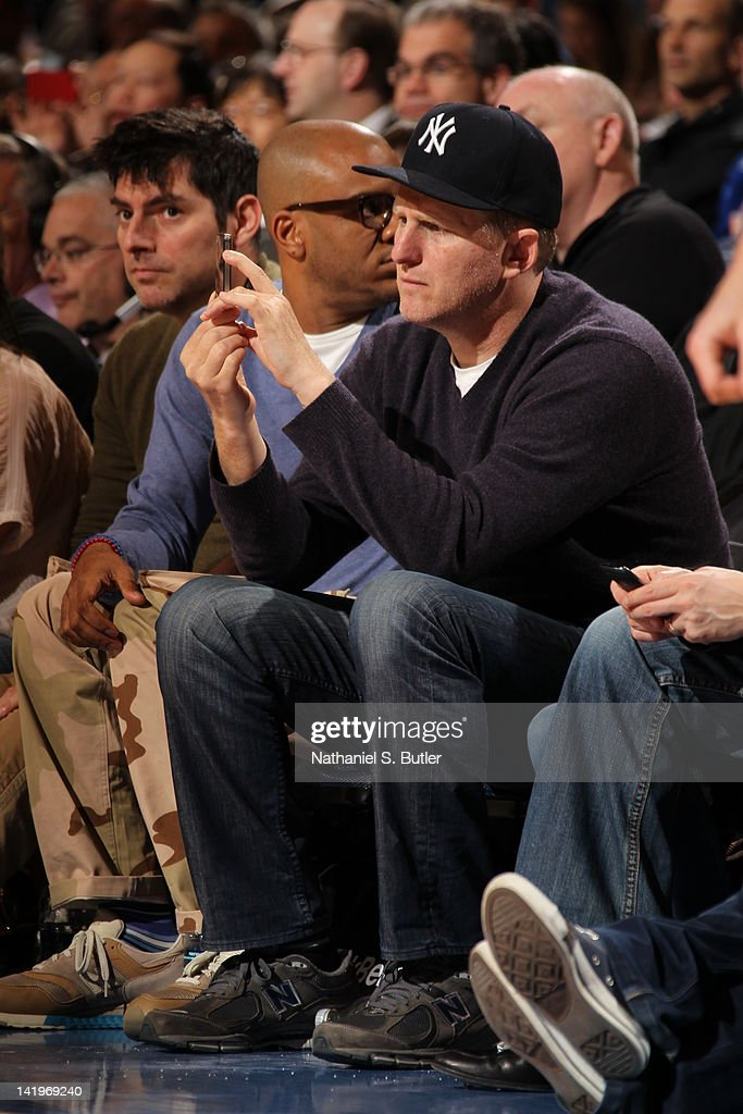 Actor Michael Rappaport sits courtside on March 24, 2012 at Madison Square Garden in New York City.