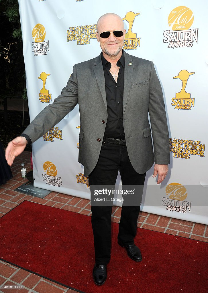 Actor <a gi-track='captionPersonalityLinkClicked' href=/galleries/search?phrase=Michael+Rooker&family=editorial&specificpeople=640228 ng-click='$event.stopPropagation()'>Michael Rooker</a> arrives for the 40th Annual Saturn Awards held at The Castaway on June 26, 2014 in Burbank, California.