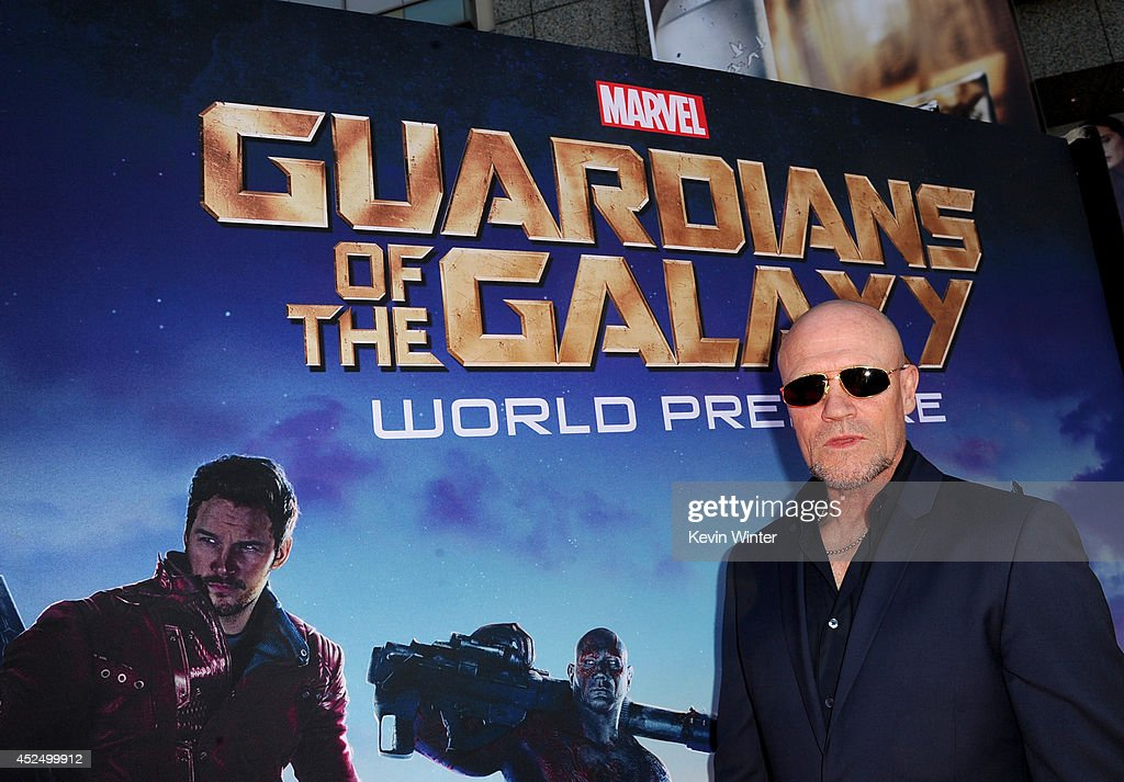 Actor <a gi-track='captionPersonalityLinkClicked' href=/galleries/search?phrase=Michael+Rooker&family=editorial&specificpeople=640228 ng-click='$event.stopPropagation()'>Michael Rooker</a> attends the premiere of Marvel's 'Guardians Of The Galaxy' at the Dolby Theatre on July 21, 2014 in Hollywood, California.