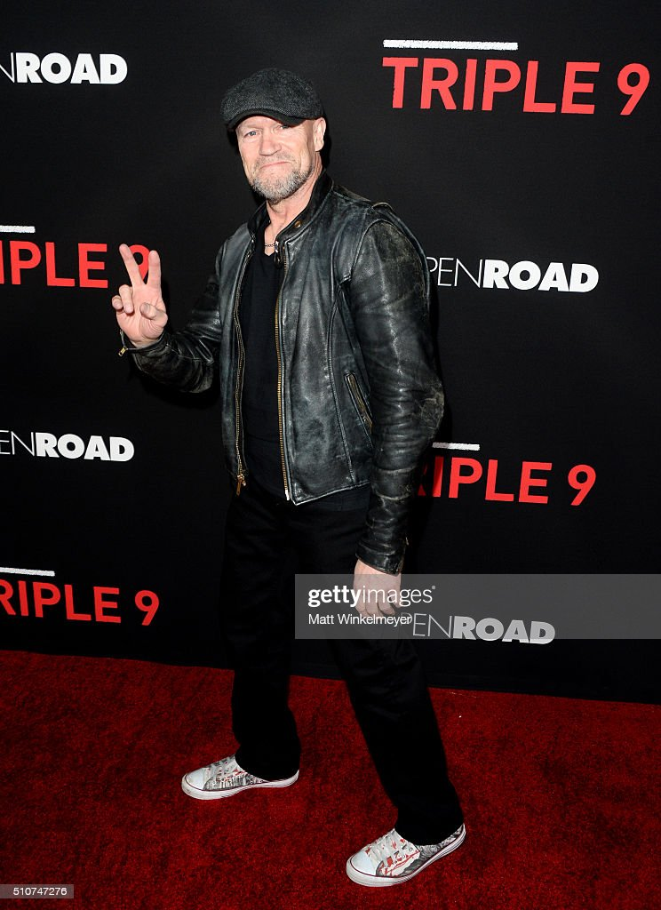 Actor <a gi-track='captionPersonalityLinkClicked' href=/galleries/search?phrase=Michael+Rooker&family=editorial&specificpeople=640228 ng-click='$event.stopPropagation()'>Michael Rooker</a> attends the premiere of Open Road's 'Triple 9' at Regal Cinemas L.A. Live on February 16, 2016 in Los Angeles, California.