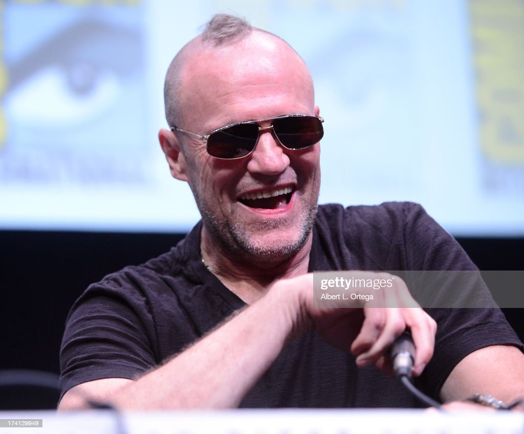 Actor <a gi-track='captionPersonalityLinkClicked' href=/galleries/search?phrase=Michael+Rooker&family=editorial&specificpeople=640228 ng-click='$event.stopPropagation()'>Michael Rooker</a> speaks onstage at Marvel Studios 'The Guardians of the Galaxy' during Comic-Con International 2013 at San Diego Convention Center on July 20, 2013 in San Diego, California.
