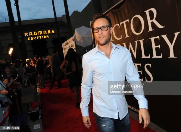 Actor Michael Rosenbaum arrives at the premiere of Dark Sky Films' 'Hatchett II' at The Egyptian Theater on September 28 2010 in Hollywood California