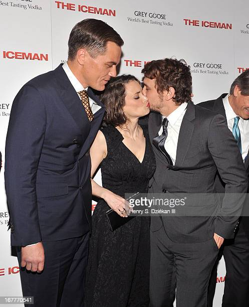 Actor Michael Shannon actress Winona Ryder and actor James Franco attend the 'The Iceman' screening at Chelsea Clearview Cinemas on April 29 2013 in...