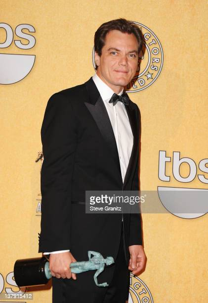 Actor Michael Shannon poses in the press room at the 18th Annual Screen Actors Guild Awards held at The Shrine Auditorium on January 29 2012 in Los...