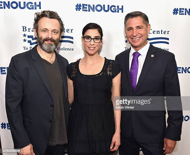 Actor Michael Sheen actress/comedian Sarah Silverman and President Brady Campaign to Prevent Gun Violence Dan Gross attend the 2016 Los Angeles Brady...