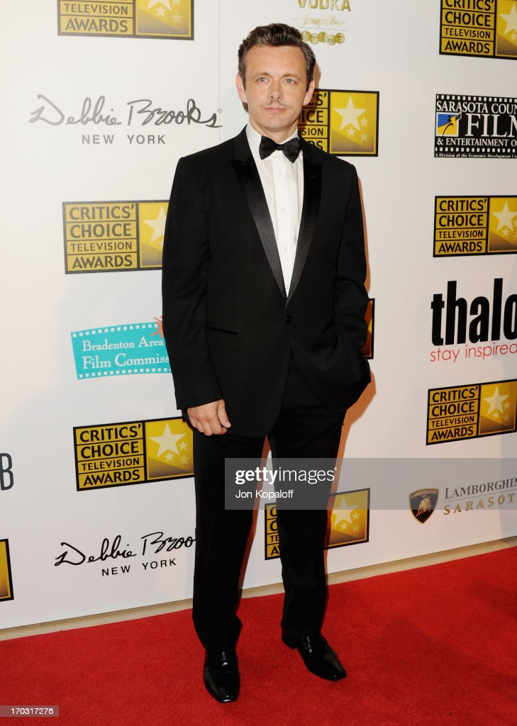 Actor <a gi-track='captionPersonalityLinkClicked' href=/galleries/search?phrase=Michael+Sheen&family=editorial&specificpeople=213120 ng-click='$event.stopPropagation()'>Michael Sheen</a> arrives at the BTJA Critics' Choice Television Award at The Beverly Hilton Hotel on June 10, 2013 in Beverly Hills, California.