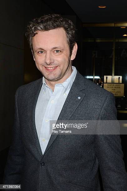 Actor Michael Sheen leaves the 'Today Show' taping at the NBC Rockefeller Center Studios on April 27 2015 in New York City