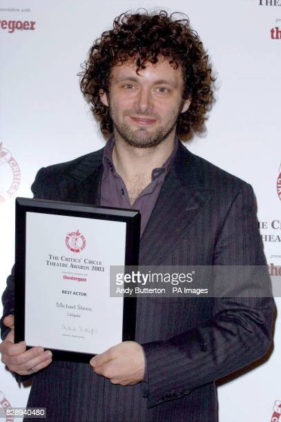 Actor Michael Sheen with his Best Actor Award for his role in Caligula at the Donmar Theatre London during the annual Critics Circle Theatre Awards...