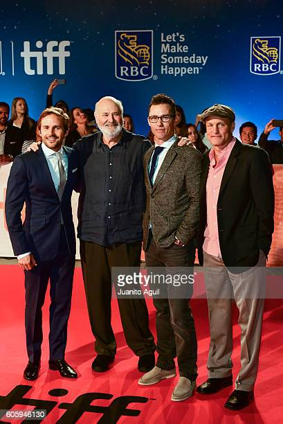 Actor Michael StahlDavid Director/Producer Rob Reiner Actor Jeffrey Donovan Actor Woody Harrelson attends the 'LBJ' premiere during the 2016 Toronto...