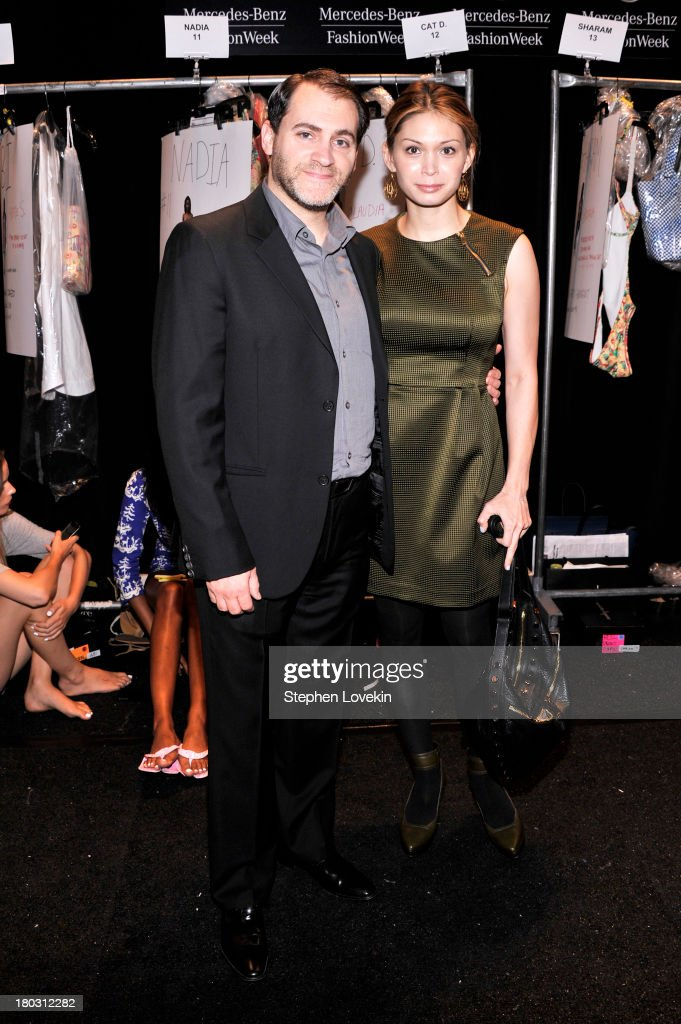 Actor <a gi-track='captionPersonalityLinkClicked' href=/galleries/search?phrase=Michael+Stuhlbarg&family=editorial&specificpeople=228317 ng-click='$event.stopPropagation()'>Michael Stuhlbarg</a> (L) and Mai-Linh Lofgren pose backstage at the Nanette Lepore fashion show during Mercedes-Benz Fashion Week Spring 2014 at The Stage at Lincoln Center on September 11, 2013 in New York City.