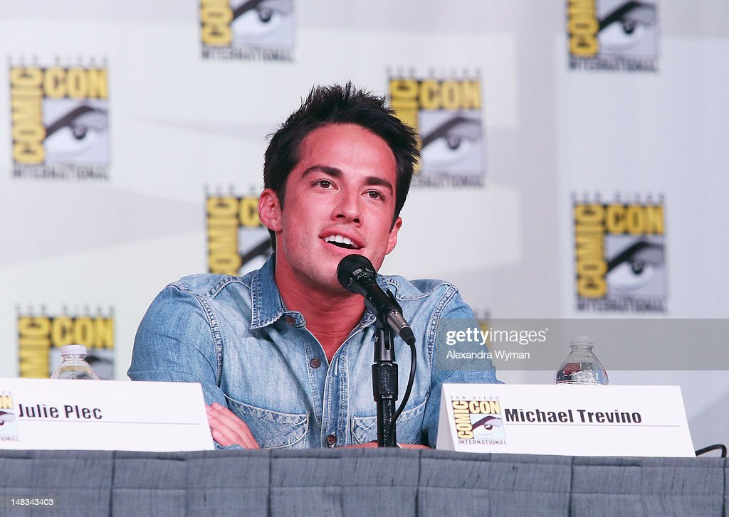 Actor <a gi-track='captionPersonalityLinkClicked' href=/galleries/search?phrase=Michael+Trevino&family=editorial&specificpeople=4069456 ng-click='$event.stopPropagation()'>Michael Trevino</a> speaks at 'The Vampire Diaries' screening during Comic-Con International 2012 at San Diego Convention Center on July 14, 2012 in San Diego, California.