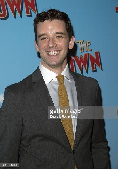 Actor Michael Urie arrives at the Lyric Theatre for the opening night of 'On The Town' on October 16 2014 in New York City