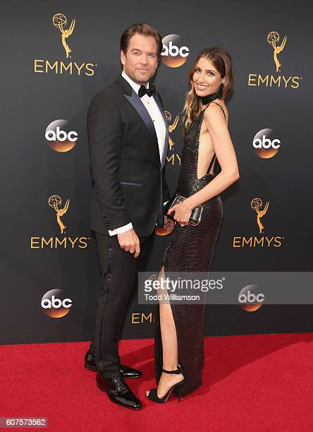 Actor Michael Weatherly and Bojana Jankovic attends the 68th Annual Primetime Emmy Awards at Microsoft Theater on September 18 2016 in Los Angeles...