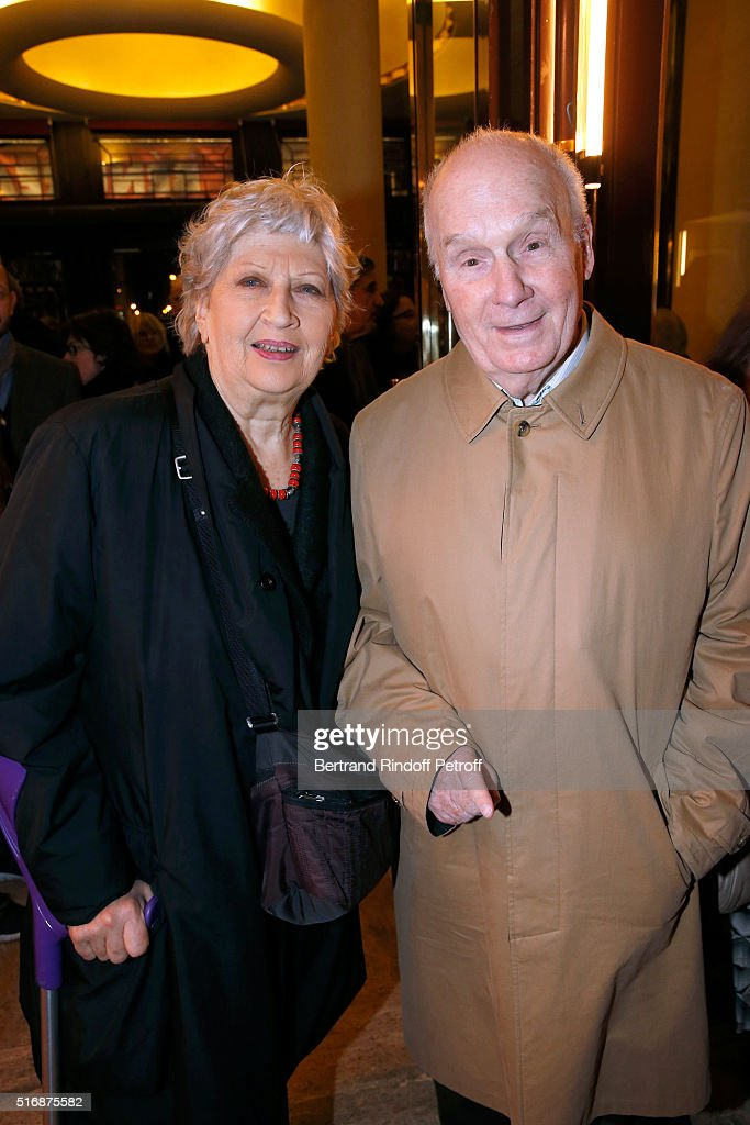 Actor Michel Bouquet and his wife actress Juliette Carre attend the 'L'Etre ou pas' Theater play at Theatre Antoine on March 21 2016 in Paris France