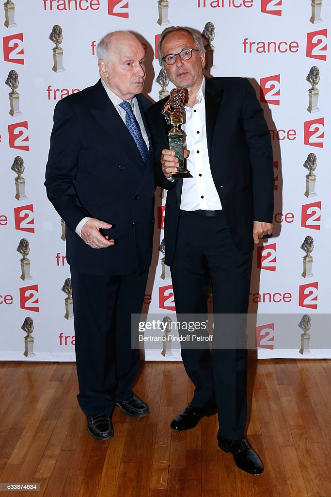 Actor Michel Bouquet and 'Moliere d'Honneur' actor Fabrice Lucchini attend 'La 28eme Nuit des Molieres' on May 23 2016 in Paris France