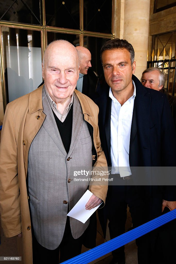 Actor Michel Bouquet and stage director Steve Suissa attend the Moliere 2016 Nominee Luncheon Held at 'Ministere de la Culture' on April 14 2016 in...