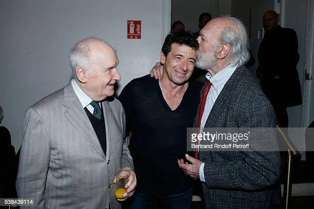 Actor Michel Bouquet singer Patrick Bruel and actor JeanPierre Marielle pose after the Concert of Patrick Bruel at Theatre Du Chatelet on June 6 2016...