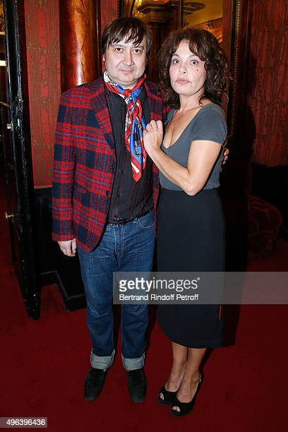 Actor Michel Fau and Actress of the piece Isabelle Mergault attend the Theater Play 'Ne me regardez pas comme ca ' performed at 'Theatre Des...