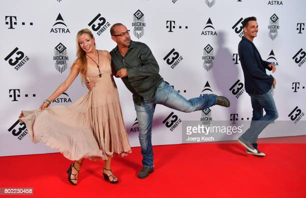 Actor Michel Guillaume his wife Georgia and actor Max von Thun attend the Shocking Shorts Award 2017 during the Munich Film Festival on June 27 2017...