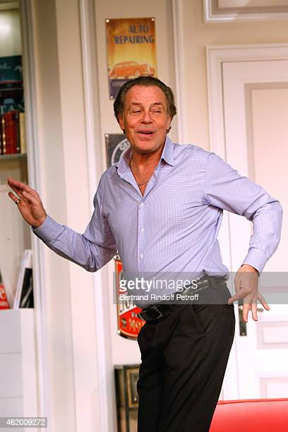 Actor Michel Leeb performs in 'Le Tombeur' Theater Play at Theatre des Nouveautes on January 21 2015 in Paris France