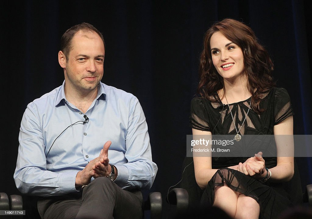 Actor Michelle Dockery (L) and Executive Producer Gareth Neame speak onstage at the Masterpiece Classic 'Downton Abbey, Season 3' panel during day 1 of the PBS portion of the 2012 Summer TCA Tour held at the Beverly Hilton Hotel on July 21, 2012 in Beverly Hills, California.