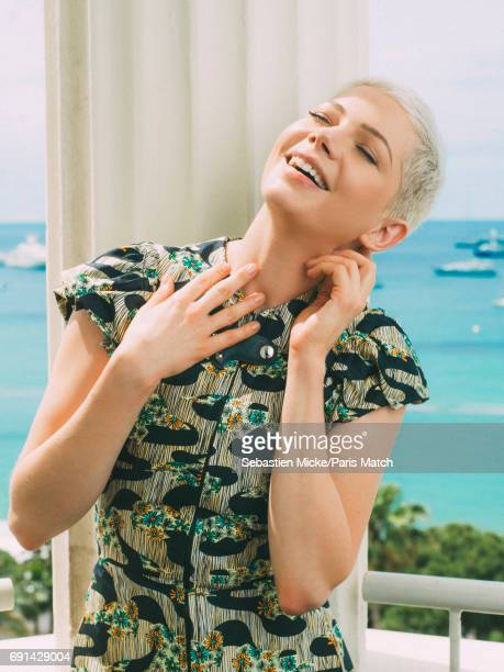 Actor Michelle Williams wearing a Louis Vuitton dress is photographed for Paris Match on May 18 2017 in Cannes France